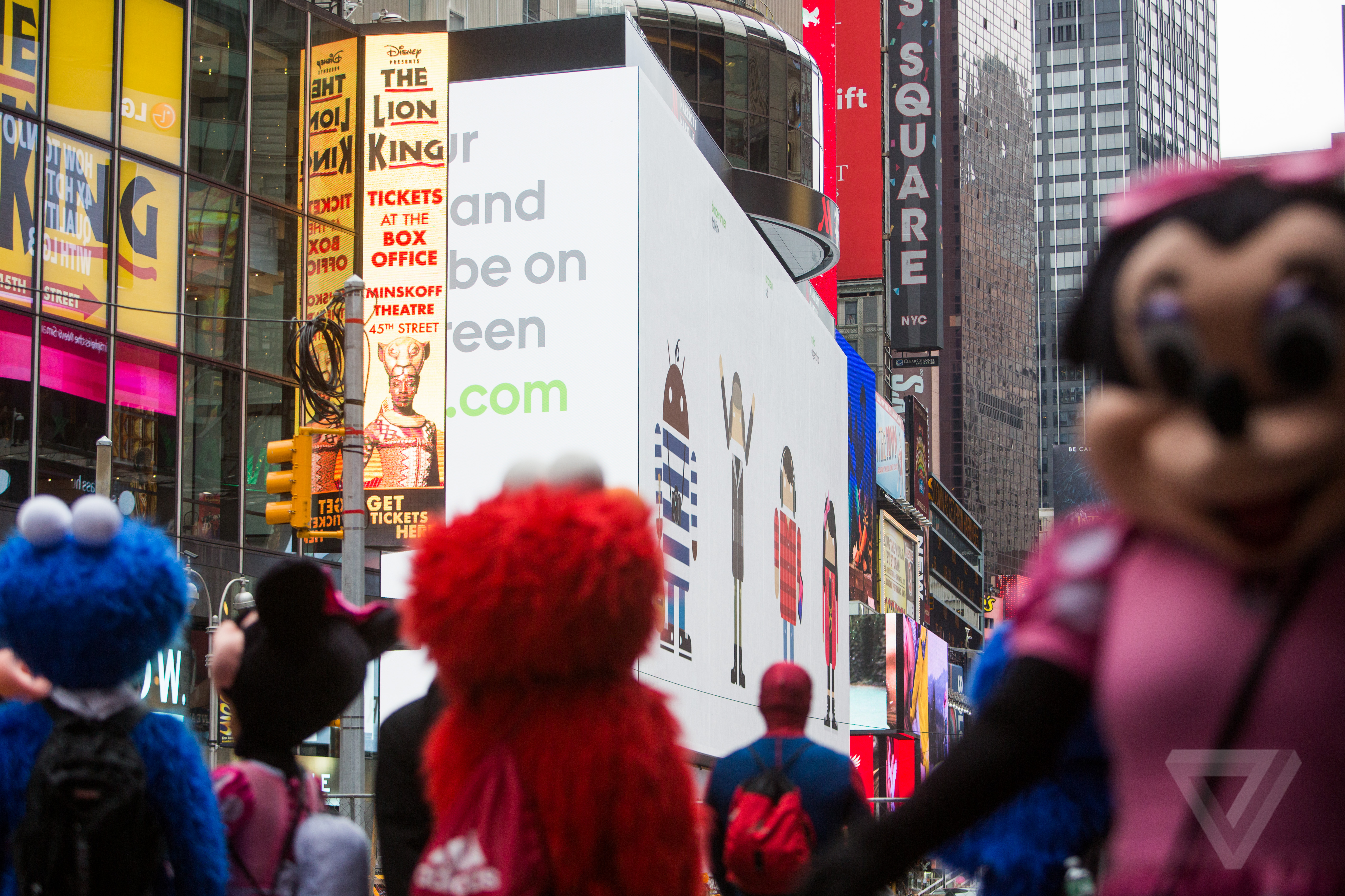 this is google s massive android billboard in times square the verge