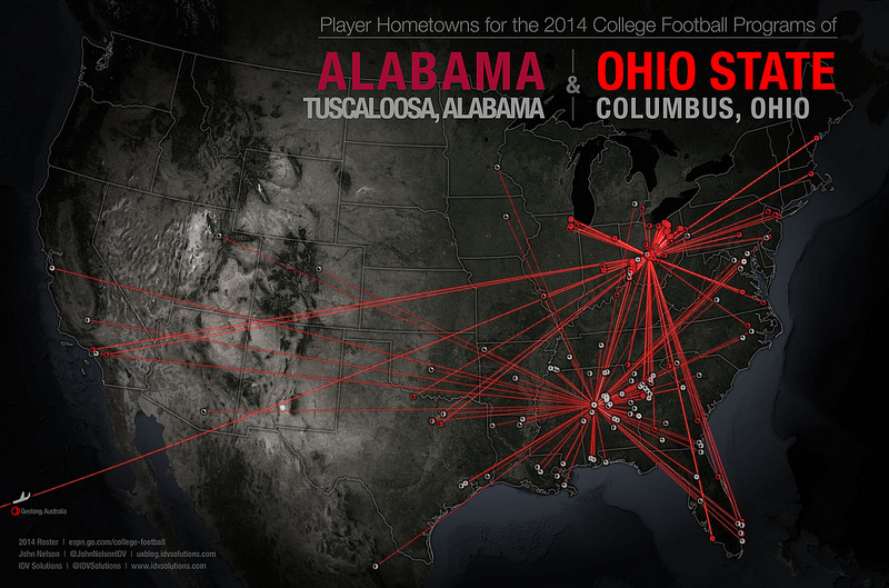 Cool maps show where all 4 College Football Playoff teams get players from