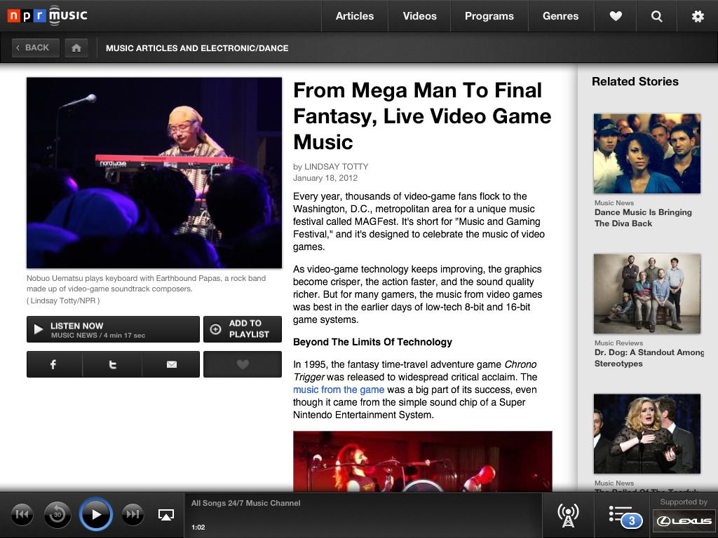 NPR Music for iPad screenshots - The Verge