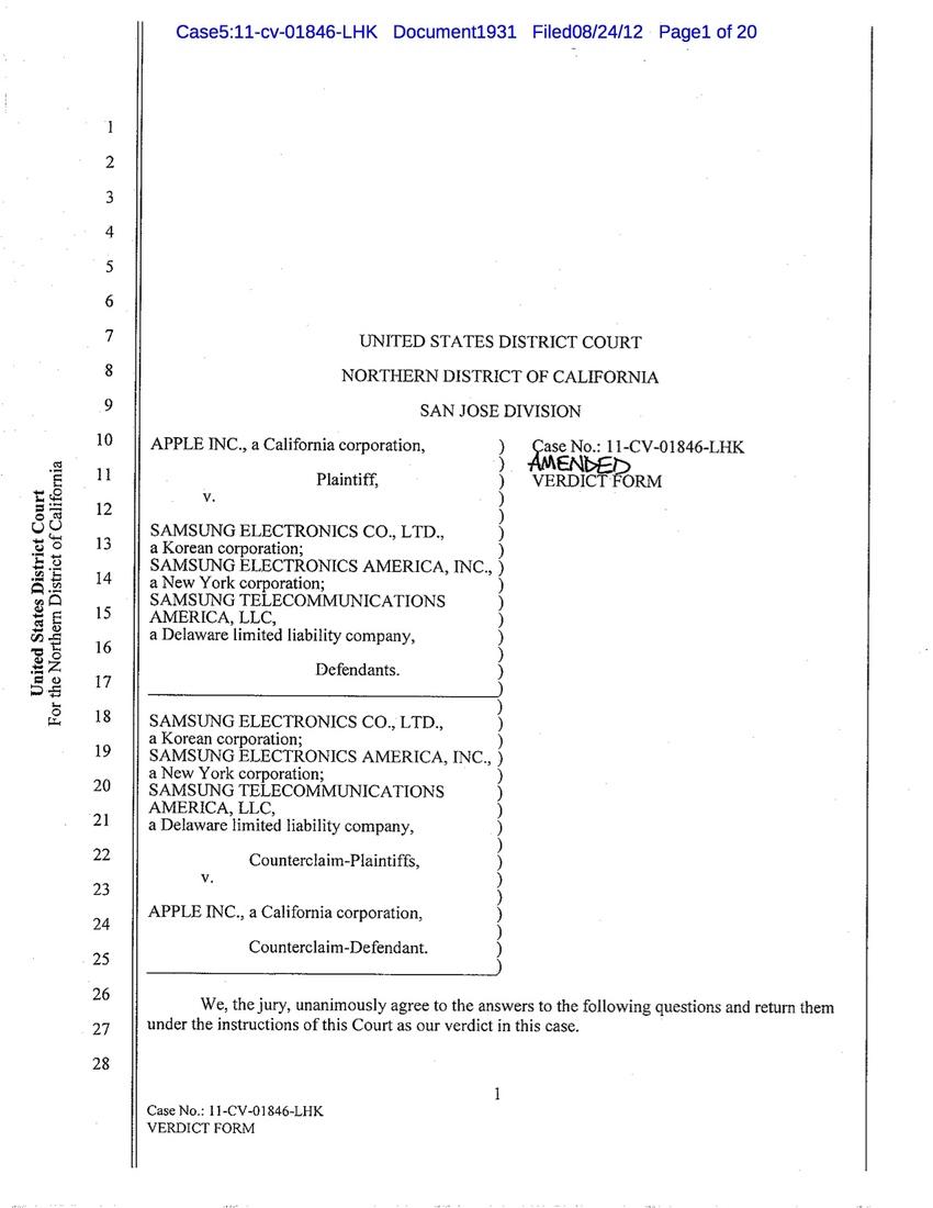 Apple Vs Samsung The Jurys Final Verdict Form Shows The Breadth