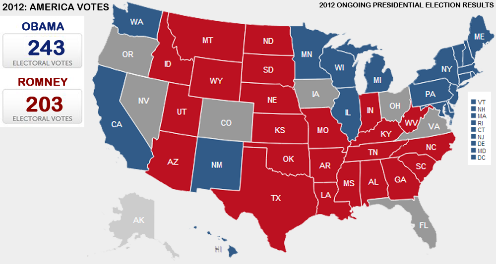 Presidential Election 2012 Vote Maps Gallery Cageside Seats - Us-map-of-electoral-votes