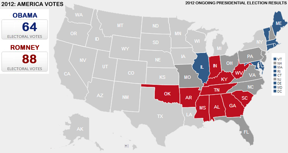 Presidential Election 2012: Vote Maps Gallery - Cageside Seats