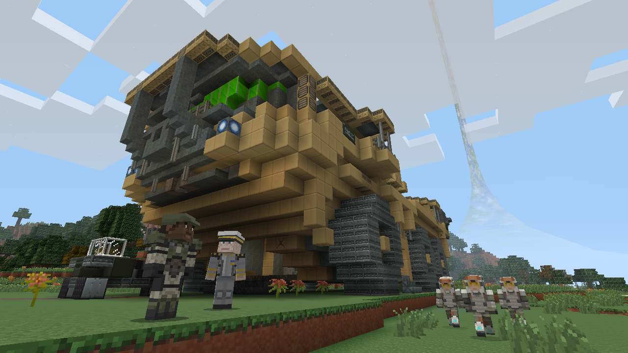 Heres What Halo Looks Like In Minecraft Xbox Edition Polygon - Skins para minecraft pocket edition de halo