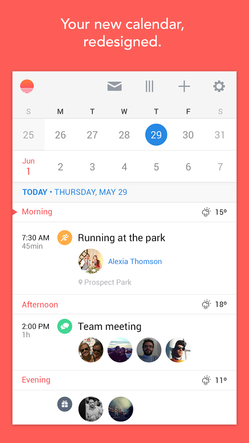 Sunrise is the first great calendar app for Android and web