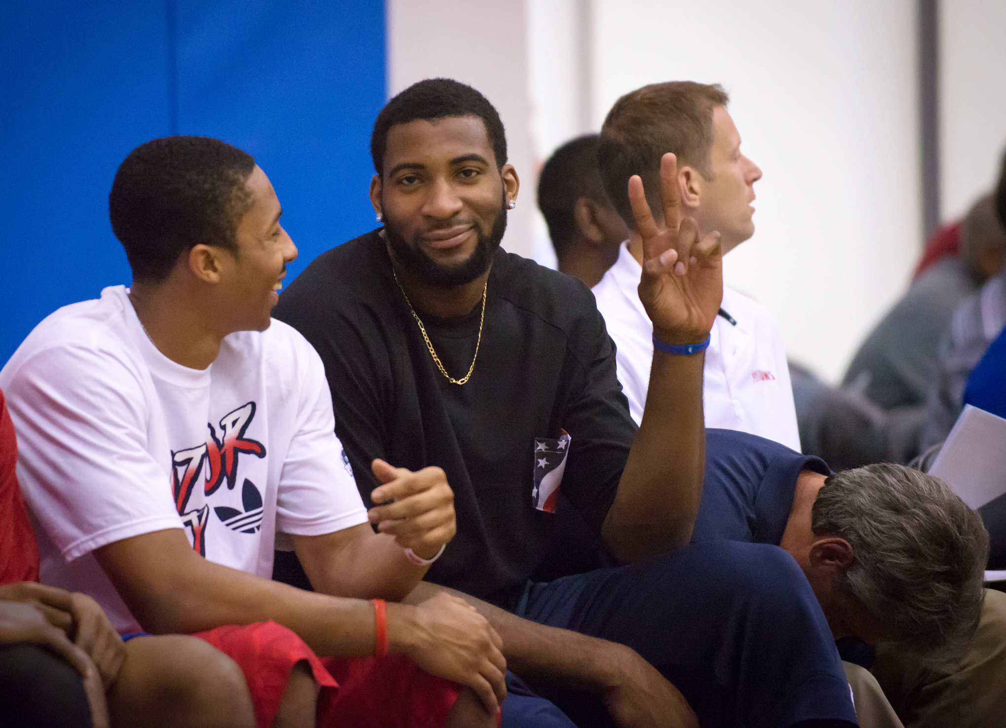 f0c93cd2c45d Andre Drummond flips a peace sign at the camera. Drummond would not play in  Orlando this summer