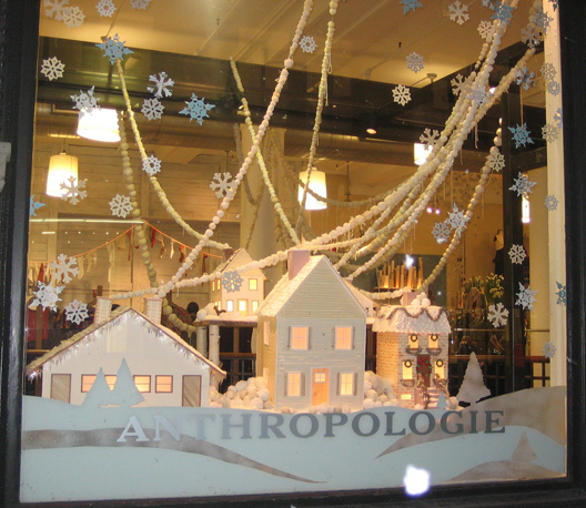 In the holiday windows it 39 s a white christmas at for Anthropologie store decoration ideas