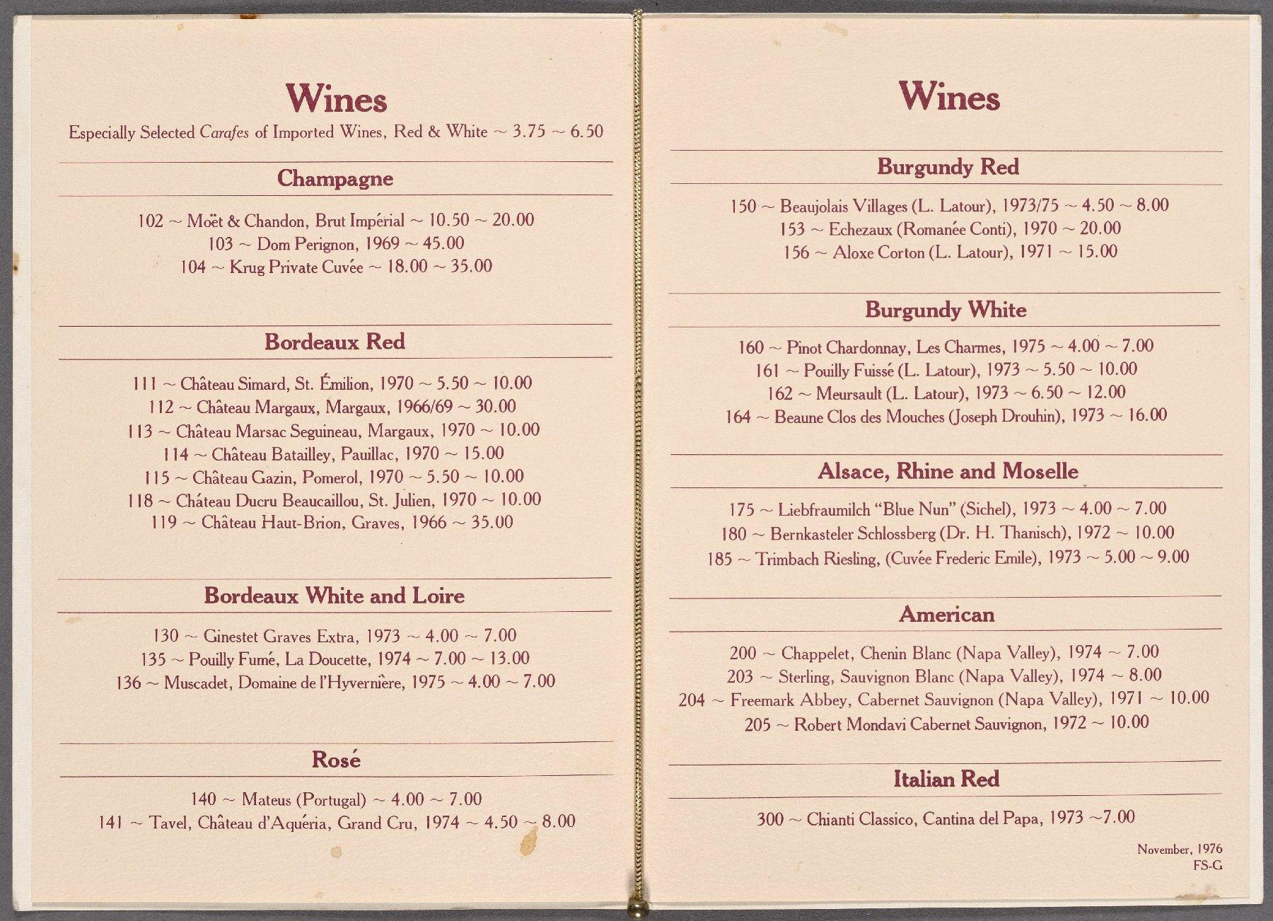 paring Nine Vintage Restaurant Menus to Their Counterparts