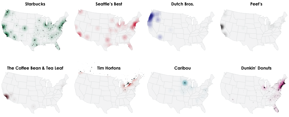 Coffee chains in America in one map Vox