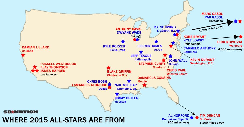 Maps And Charts That Explain NBA AllStar Weekend SBNationcom - Stars map from us