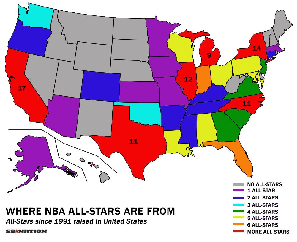 Maps And Charts That Explain NBA AllStar Weekend SBNationcom - Us house of representatives map 2017