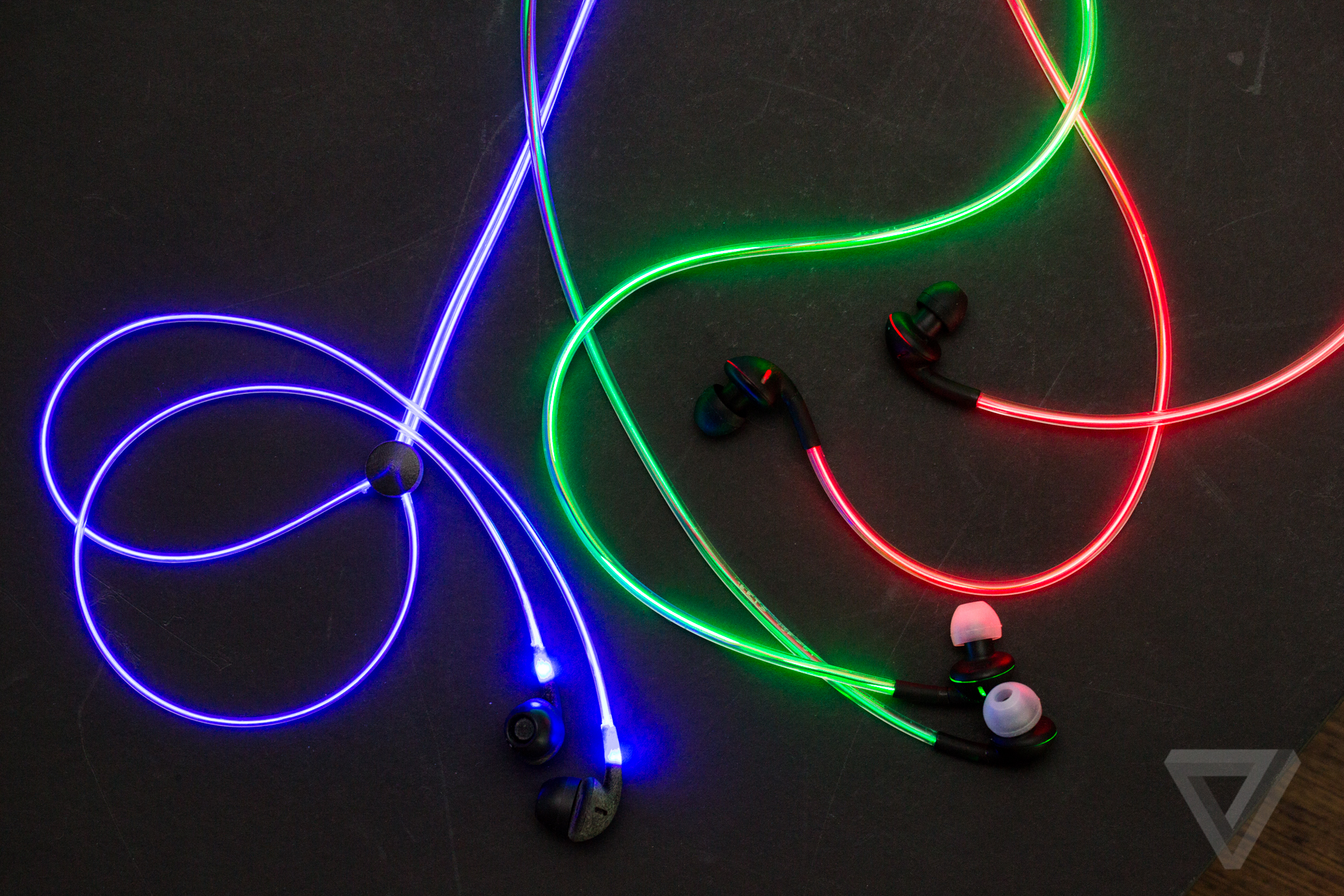 eea01763c78 Up close with Glow's crazy laser light earbuds - The Verge