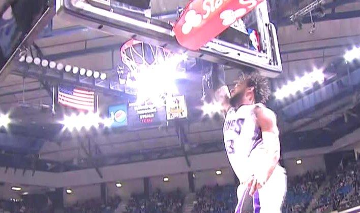 Derrick Williams jumped so high his head hit the backboard