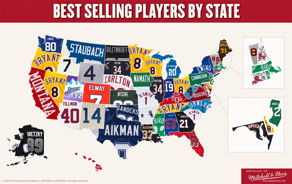 This map shows the top-selling throwback jersey in your state
