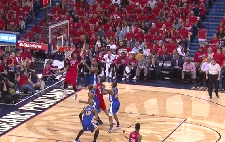 Anthony Davis' left arm extended to heaven on this putback slam