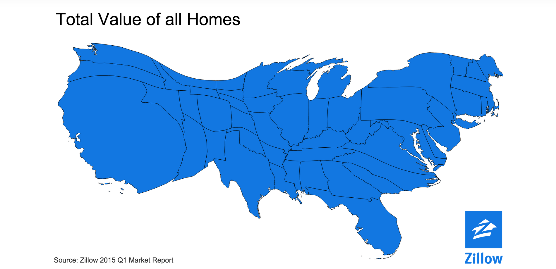 This is what America looks like if you scale each state to the
