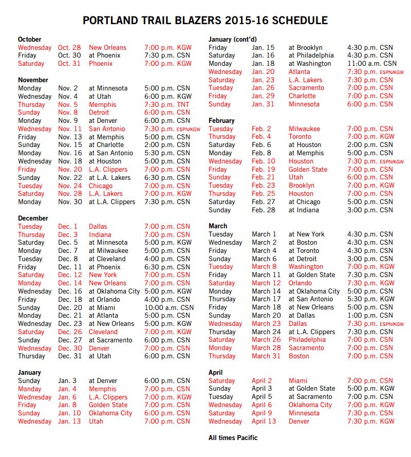 Portland Trail Blazers TV Broadcast Schedule Announced