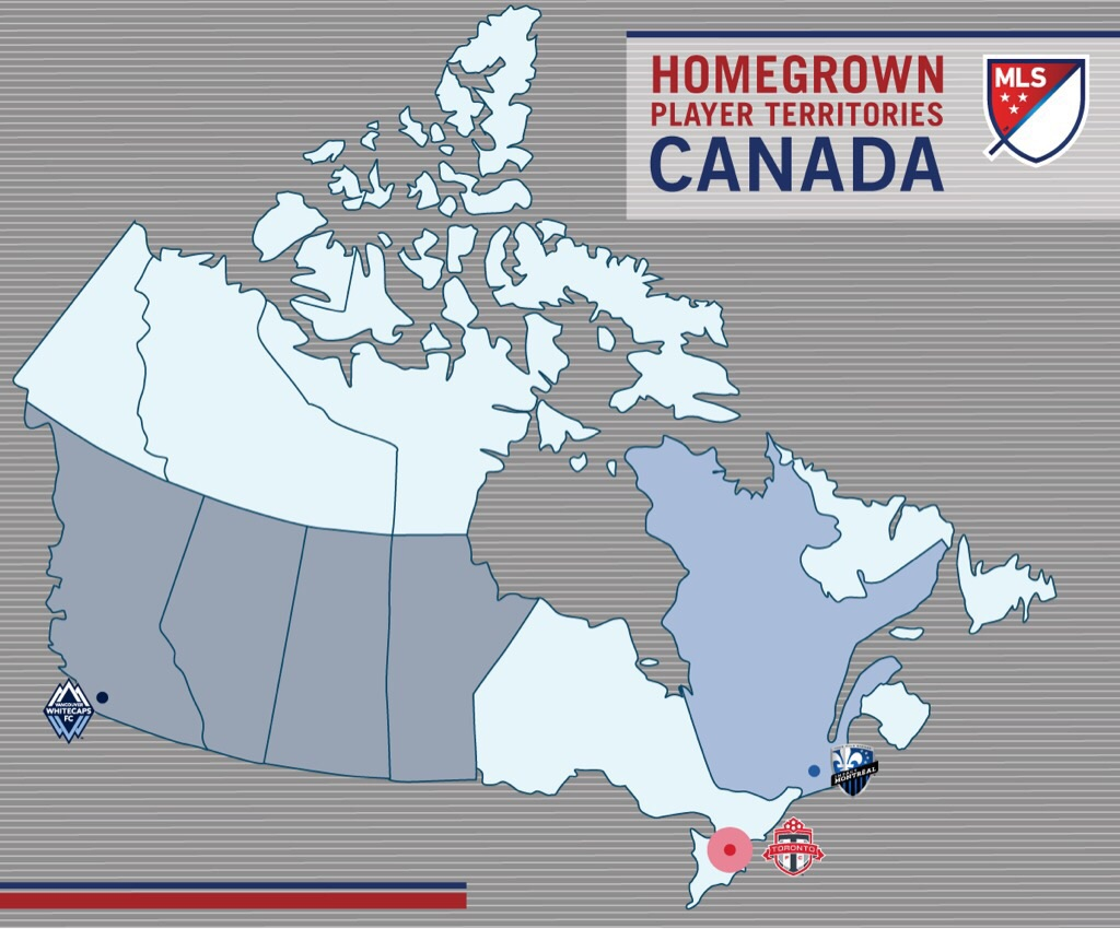 2015 Canada Homegrown Player Territory Map