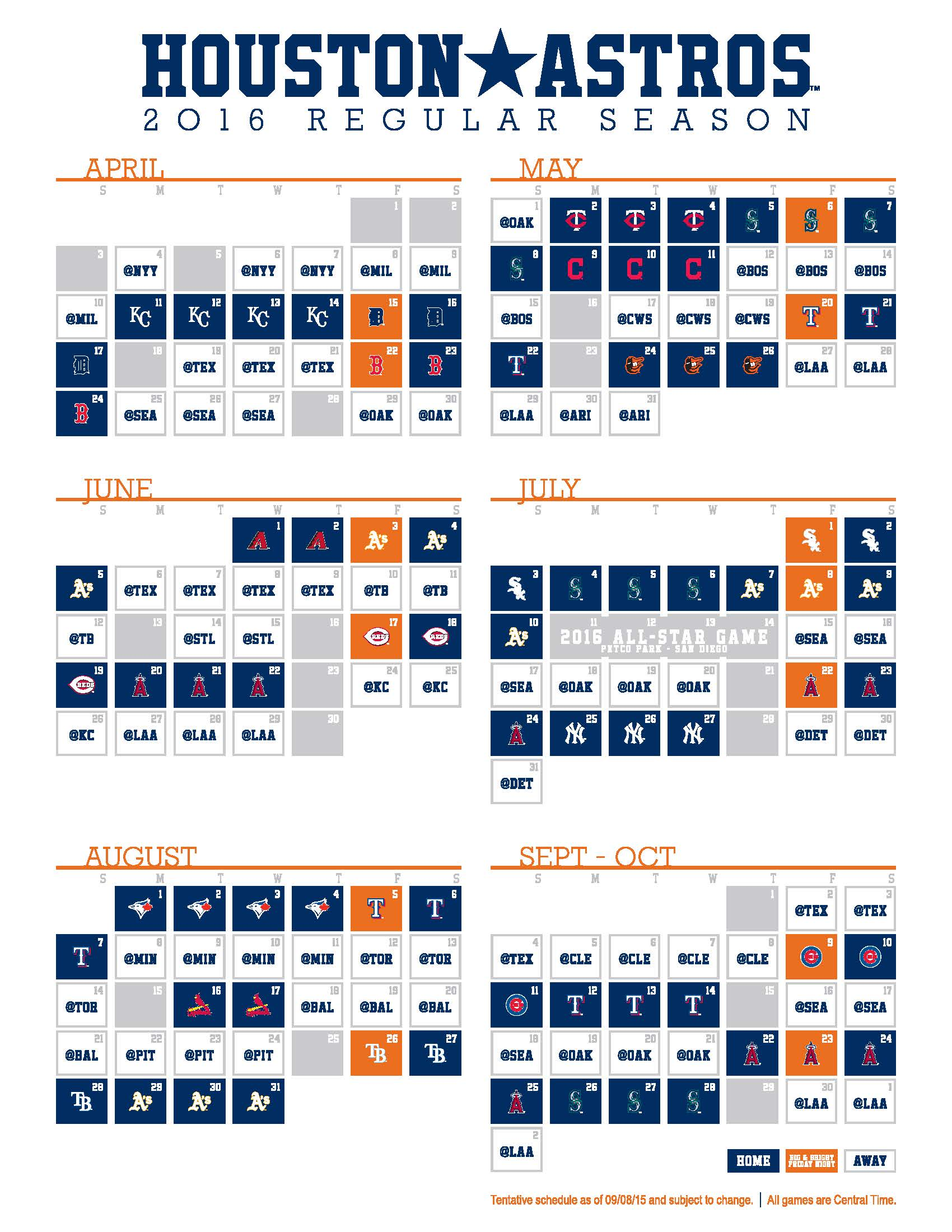Astros release 2016 schedule - The Crawfish Boxes