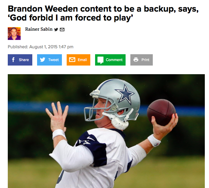The saga of Brandon Weeden, the Cowboys' QB who prayed he wouldn't have to play