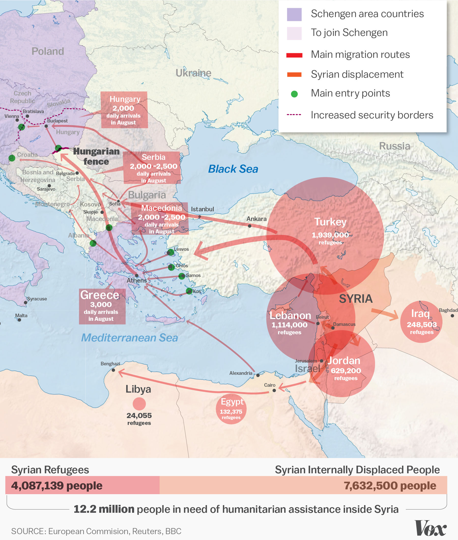 The Syrian Refugee Crisis Explained In One Map Vox - Map of syria