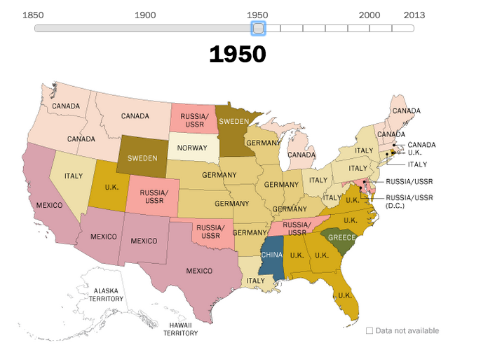 Years Of Us Immigration Trends Mapped Vox 1950 Us Map