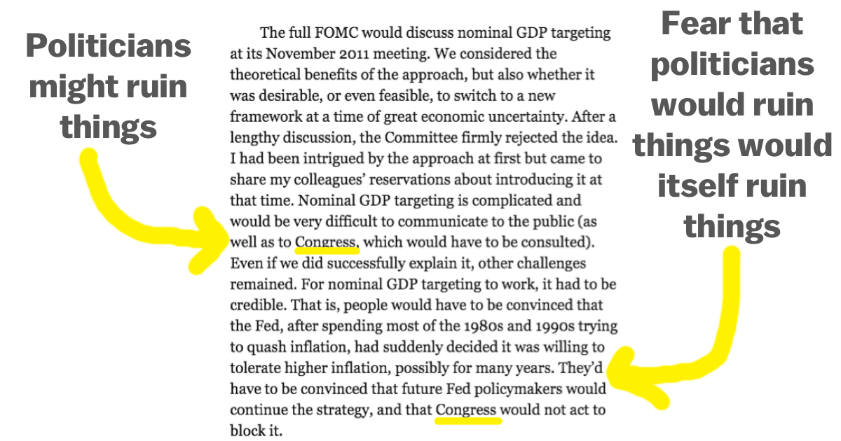 The most important paragraph in Ben Bernanke's new book