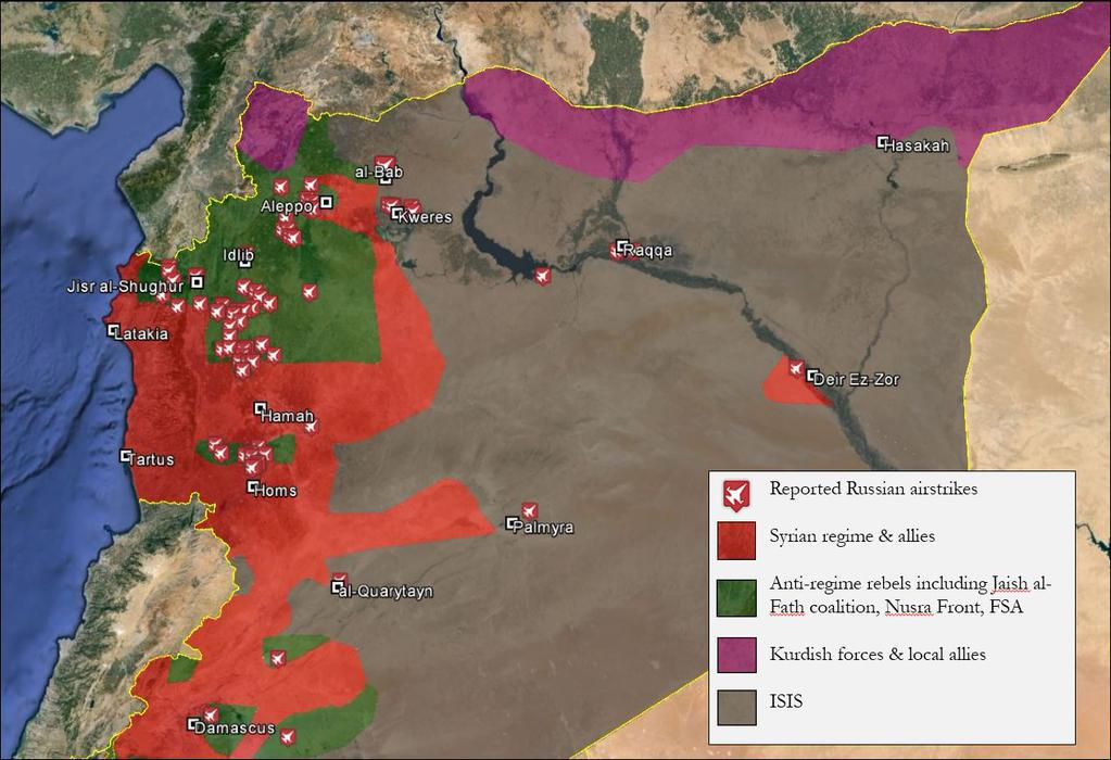 Russia Says Its Bombing ISIS In Syria This Map Shows Its Lying - Map in russian