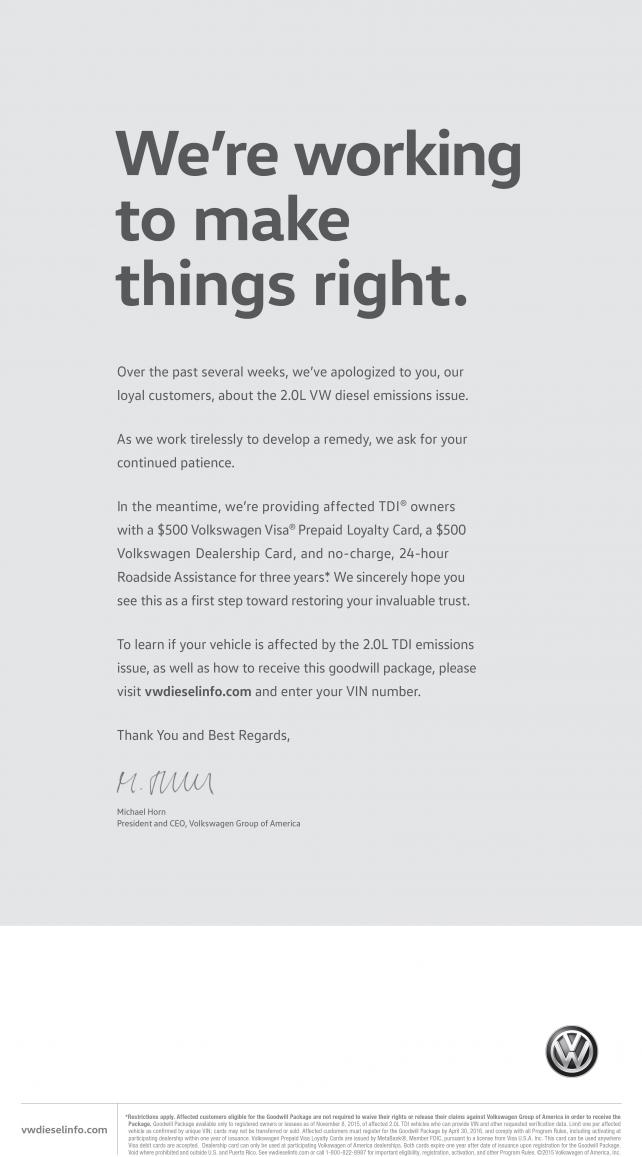Volkswagen apologizes for emissions scandal with full page ad in vw newspaper ad ccuart Choice Image