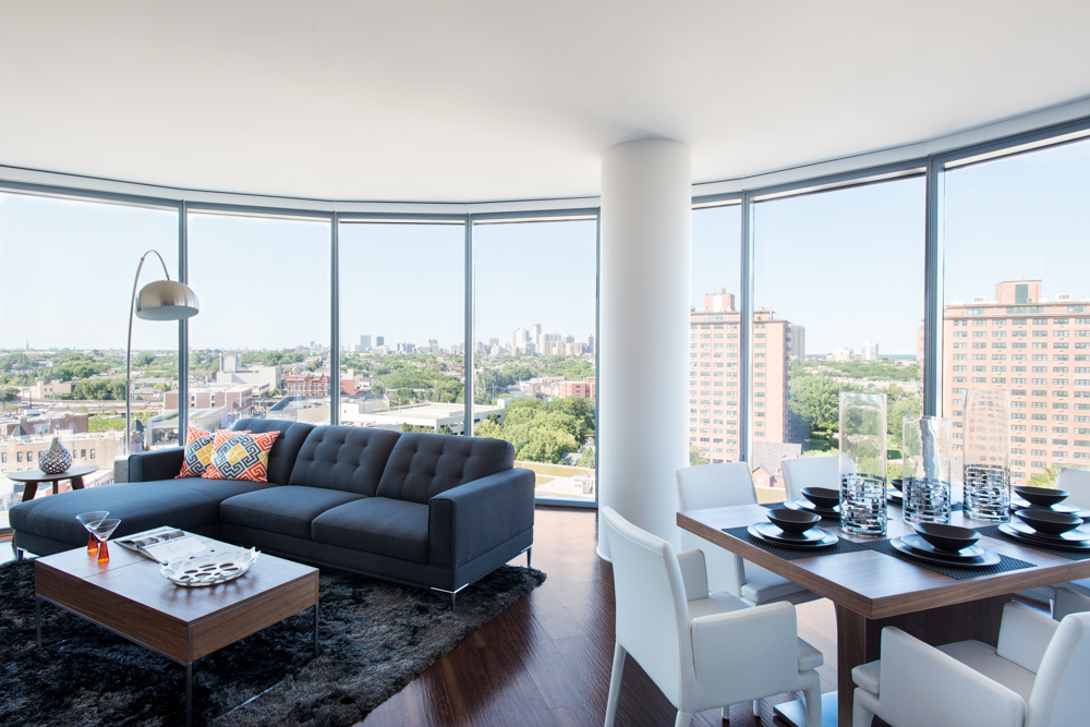 inside the apartment tower at the new city mega development
