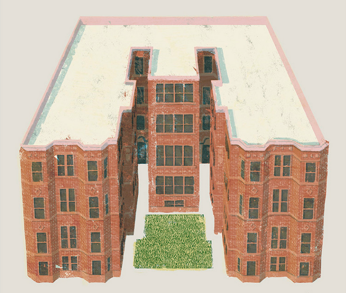 Brick Apartment Building Illustration. The Courtyard Building A Handy Guide to the Most Classic Types of Chicago Houses  Curbed