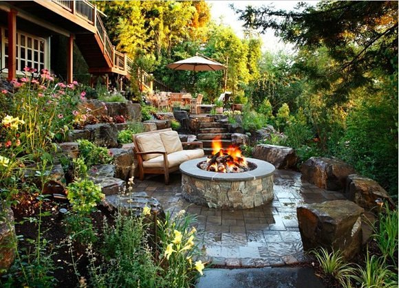 This Plain Medina Backyard Gets A Firepit Patio Makeover