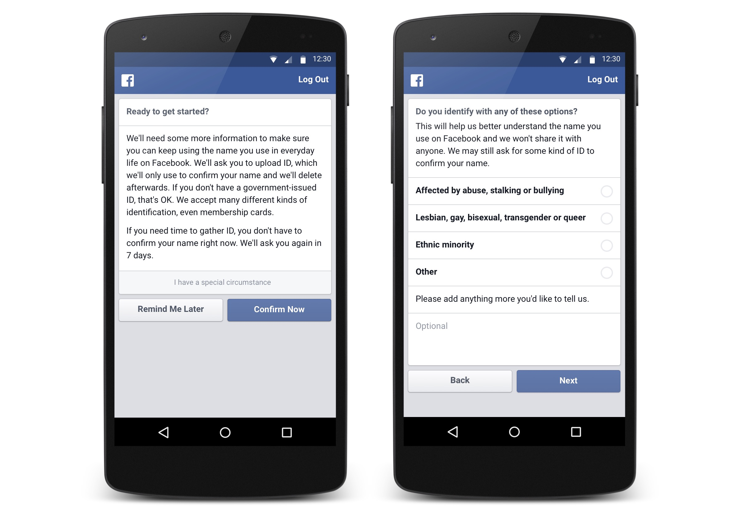 Facebook Real Name Policy Appeal