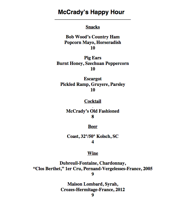 Mccrady Charleston Restaurant Week Menu
