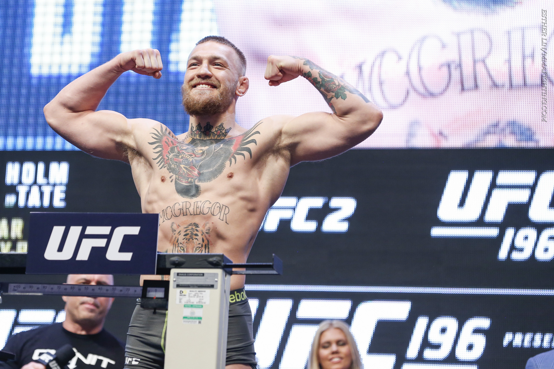 UFC 196 weigh-in photos Conor McGregor flexes during the UFC 196 weigh-ins  at MGM Grand Garden Arena in Las Vegas, Nev., on Fri., Mar. 4, 2016.