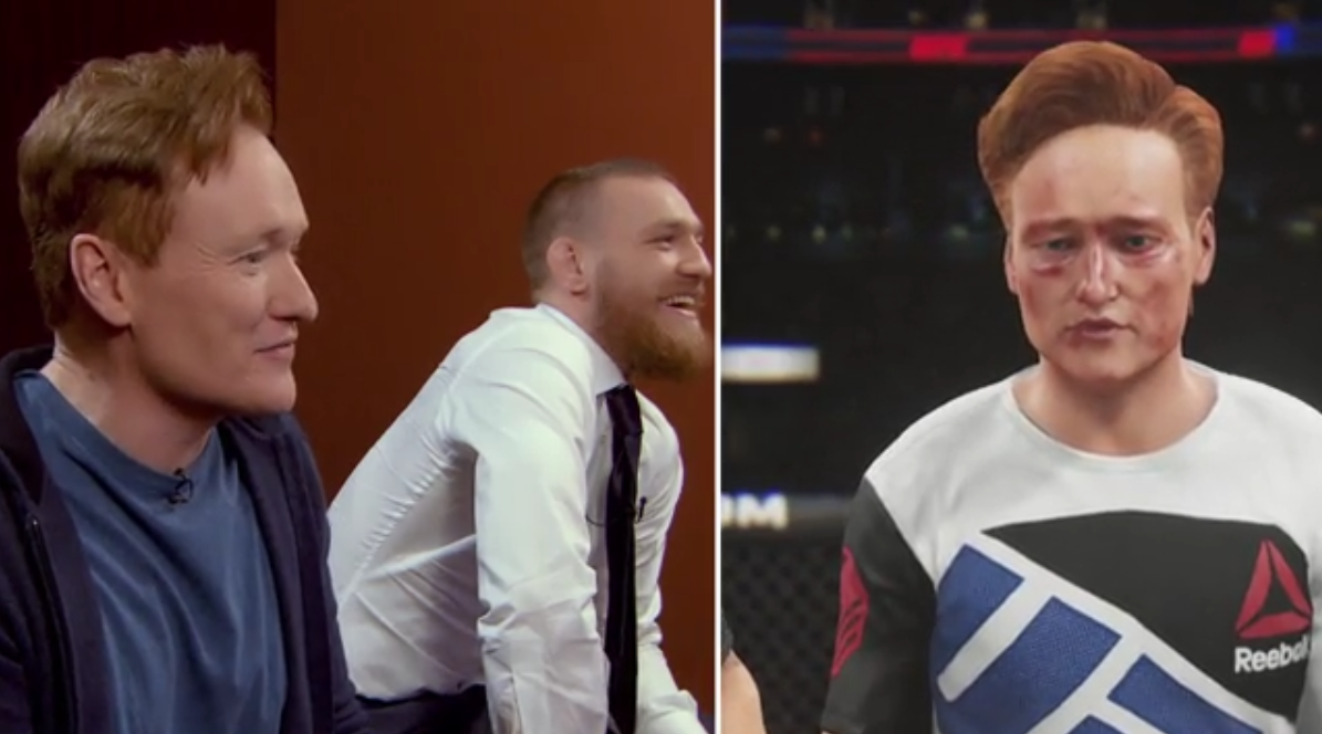 Conor McGregor repeatedly knocks out Conan O'Brien while playing 'UFC 2'