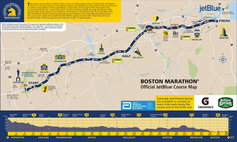 Boston Marathon  Route Information Course Map Road Closures - Chicago marathon map