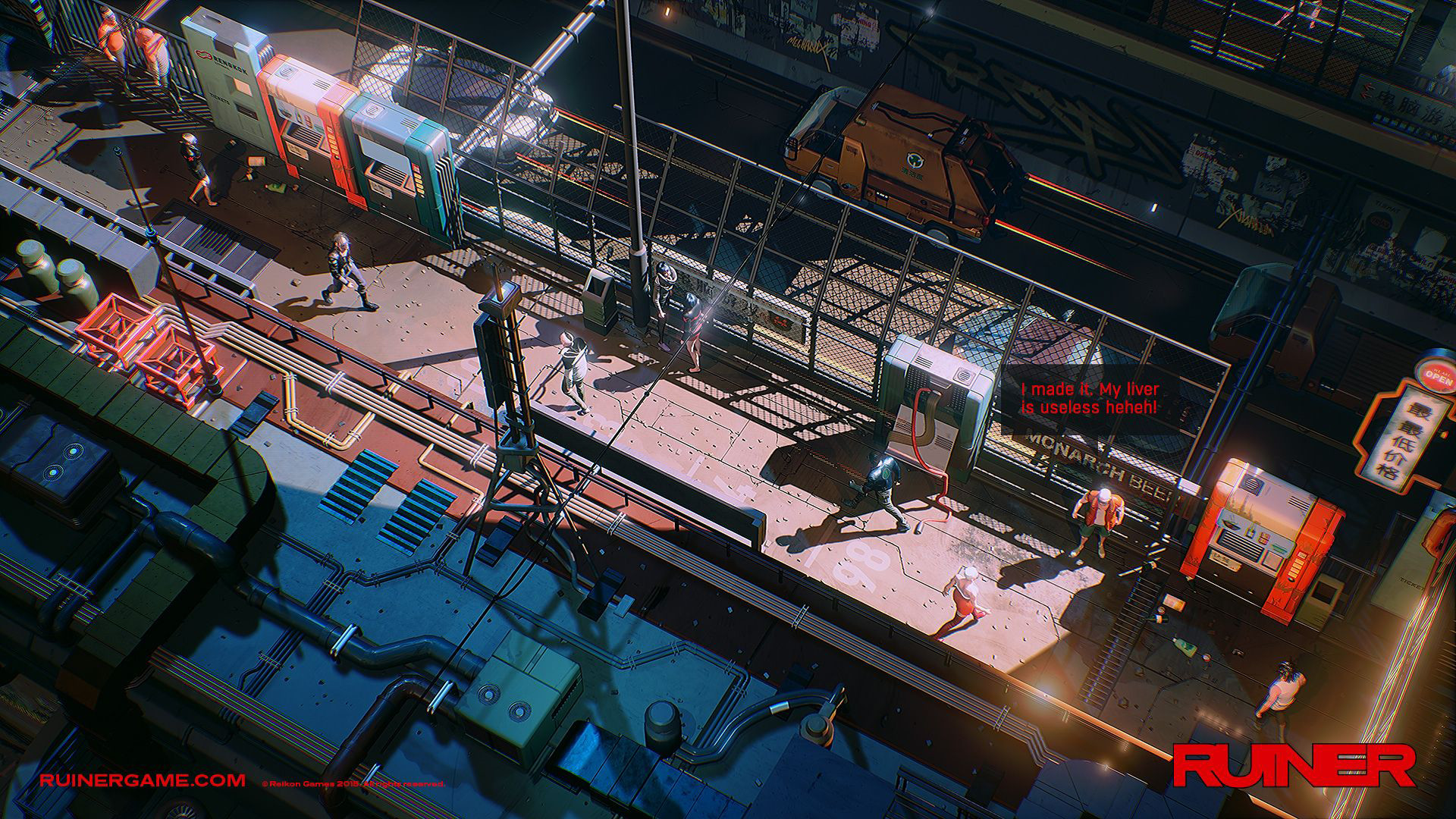 Ruiner is a neon-bright swords and guns game that will brook no blunders