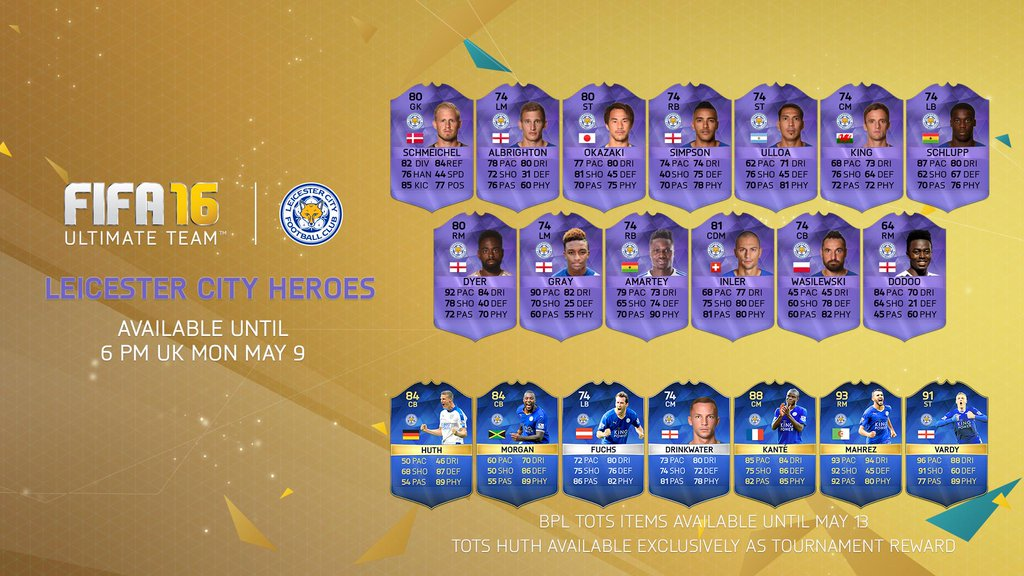 GG EA! FIFA 16 release hero cards for entire Leicester City squad