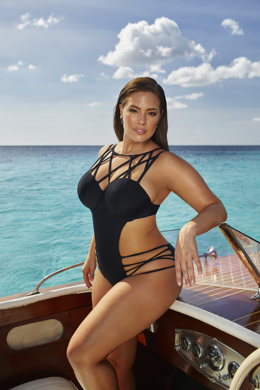 ashley graham-designed plus-size swimsuits feature string, cut