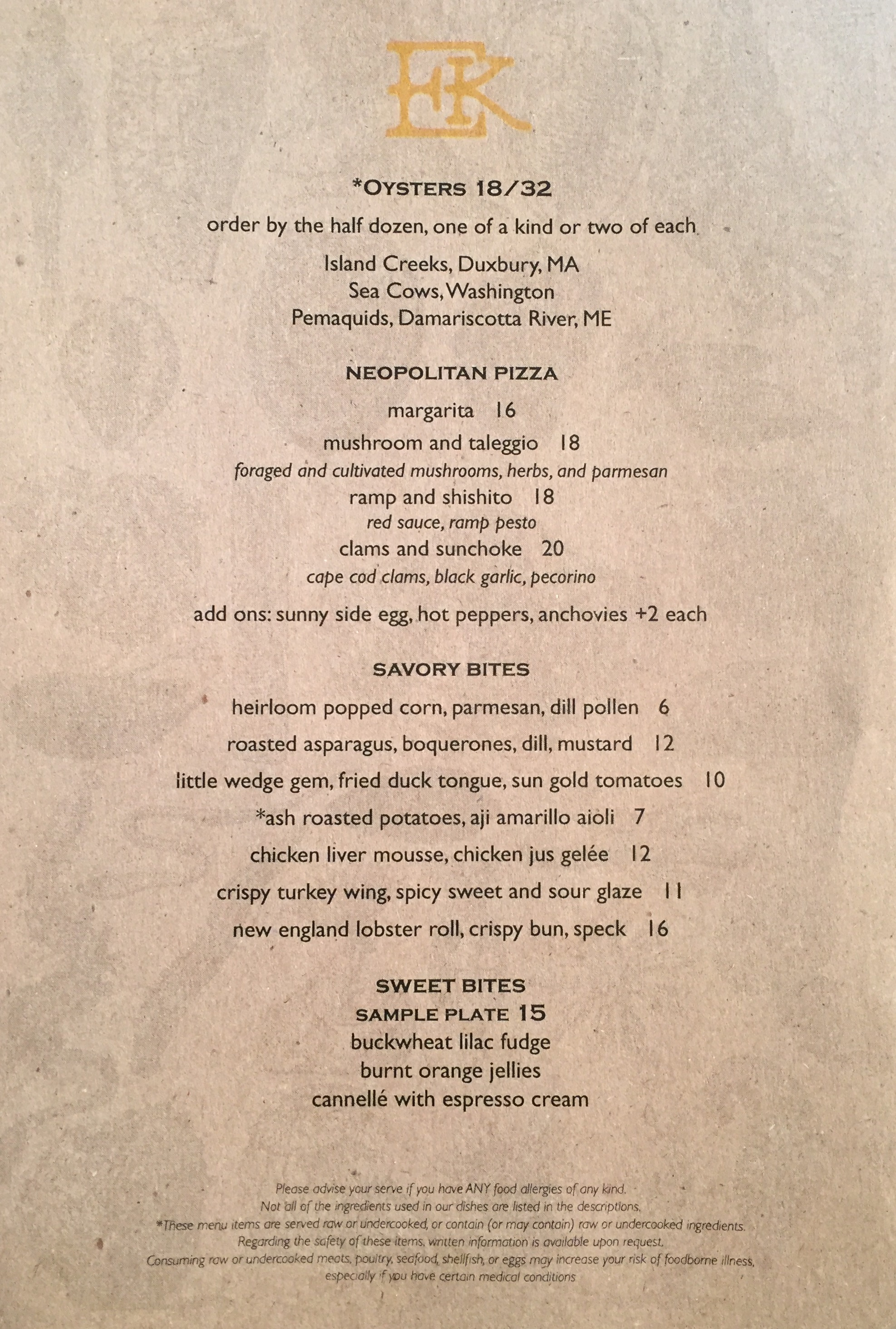 here s the menu for tapestry officially opening today in fenway