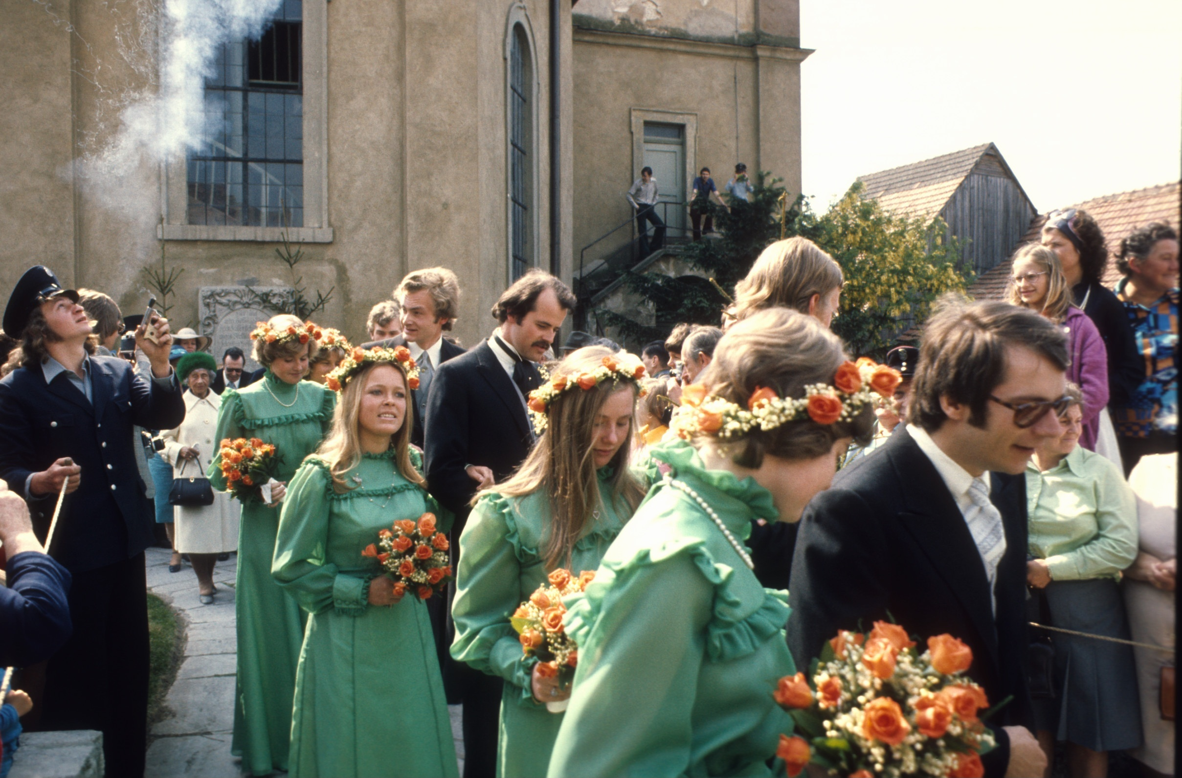 A cultural history of ugly bridesmaids dresses racked bridesmaids in a less than flattering green at the wedding of prince christian sigismund of prussia and nina helene lydia alexandra photos peter bischoff ombrellifo Images