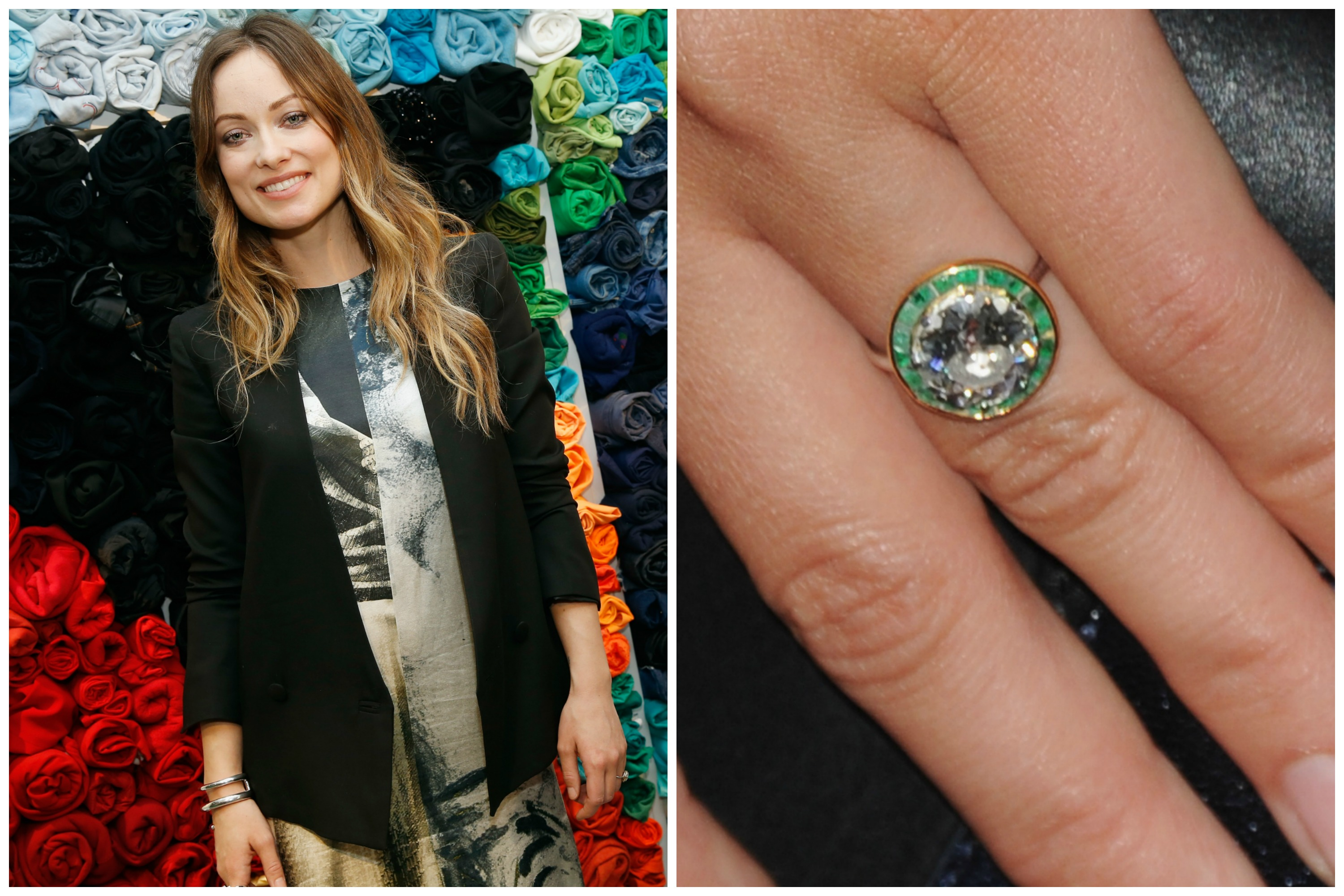 Inspired By His Future Wife Olivia Wilde S Bright Green Eyes Jason Sudeikis Had Her Round Cut Diamond Ring Set Within A Of Vibrant Emerald Stones