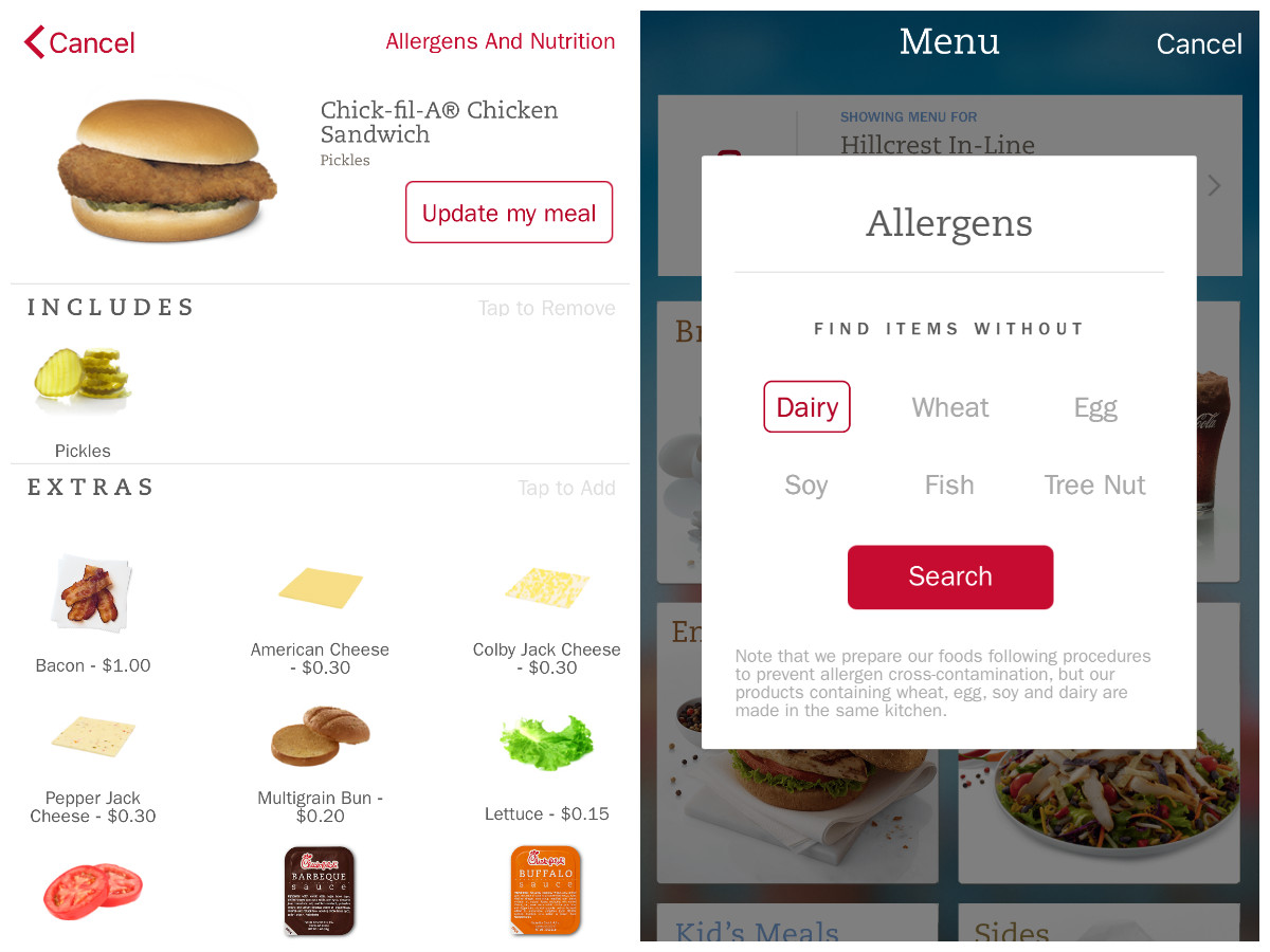 The new chick fil a mobile app reviewed eater got food allergies the app has an allergens filter that does exactly what it sounds like as someone who recently and reluctantly gave up dairy forumfinder Gallery
