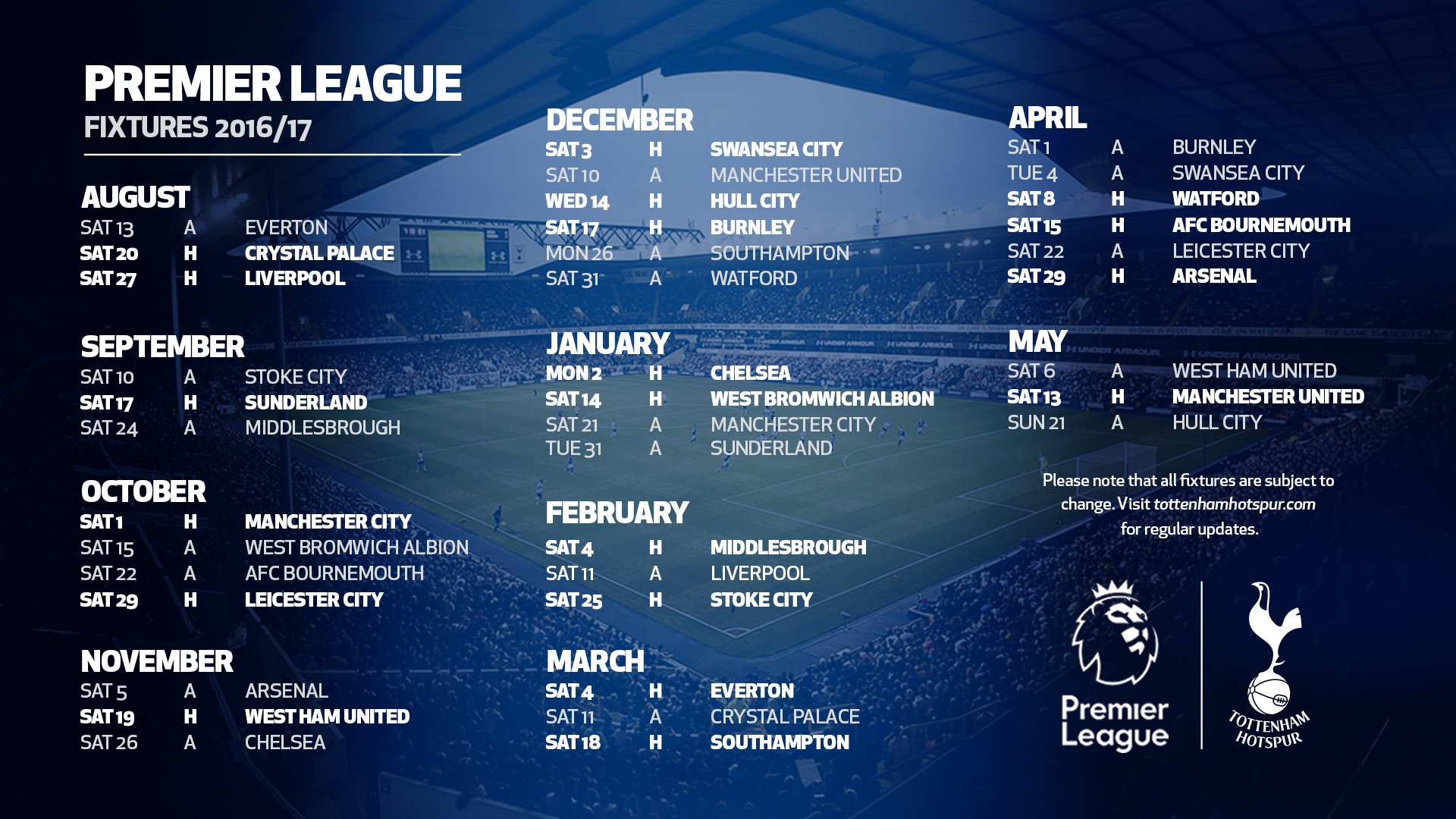 Tottenham S 2016 17 League Schedule Is Released And