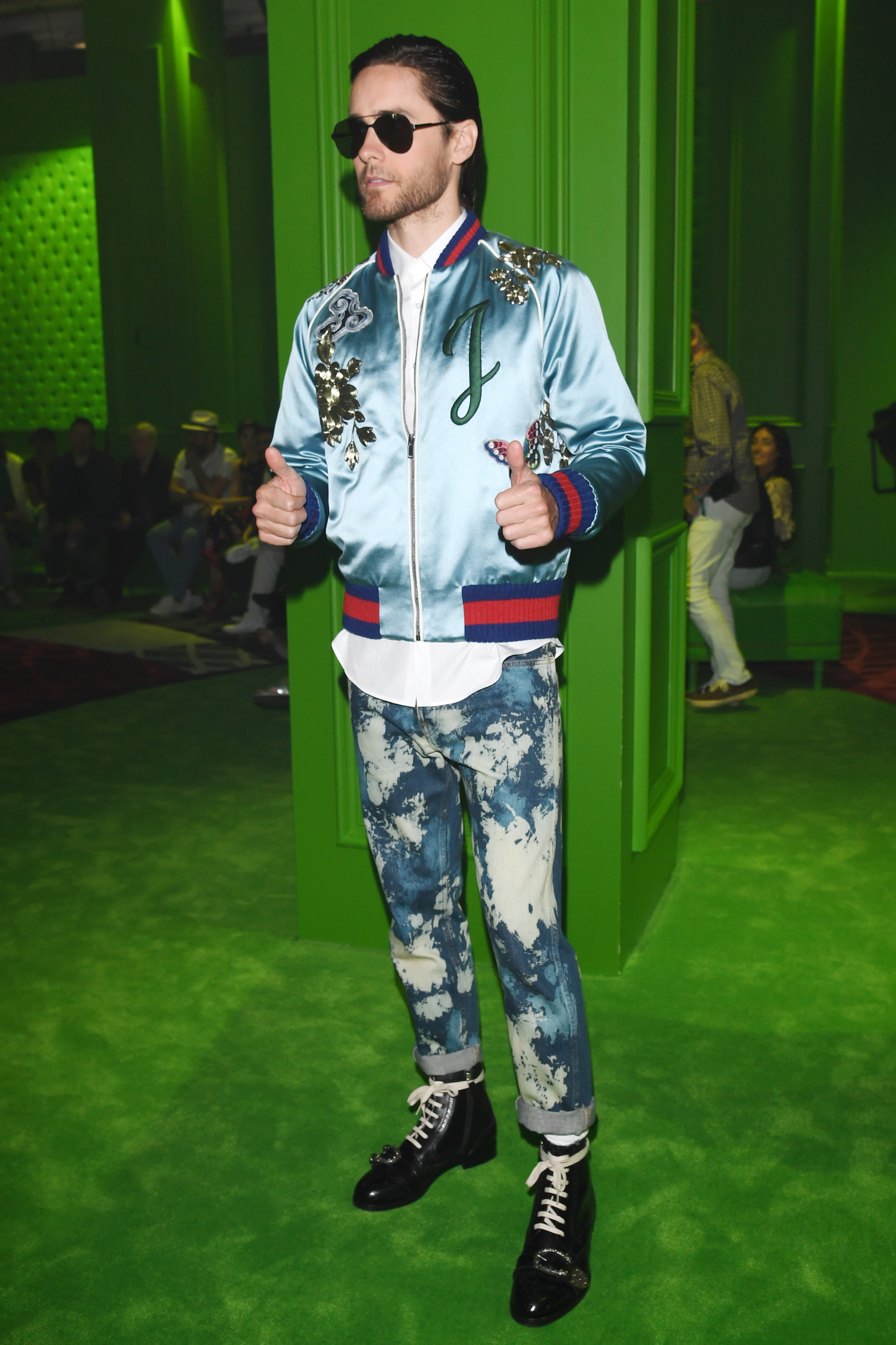 gucci 2017 shoes. jared leto wears a customized gucci bomber at the brand\u0027s menswear show in milan on monday 2017 shoes