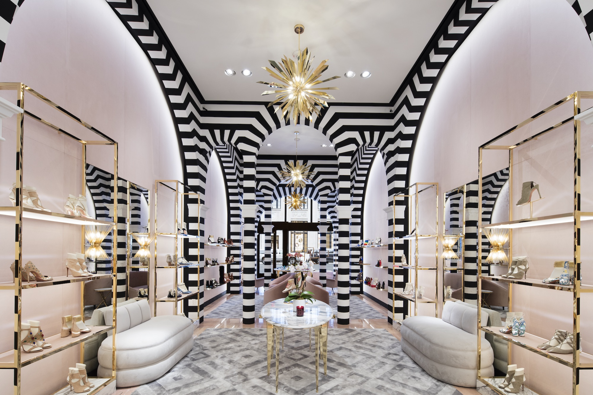 Gold Fixtures Black And White Striped Wallpaper Inside The Aquazzura Store In New
