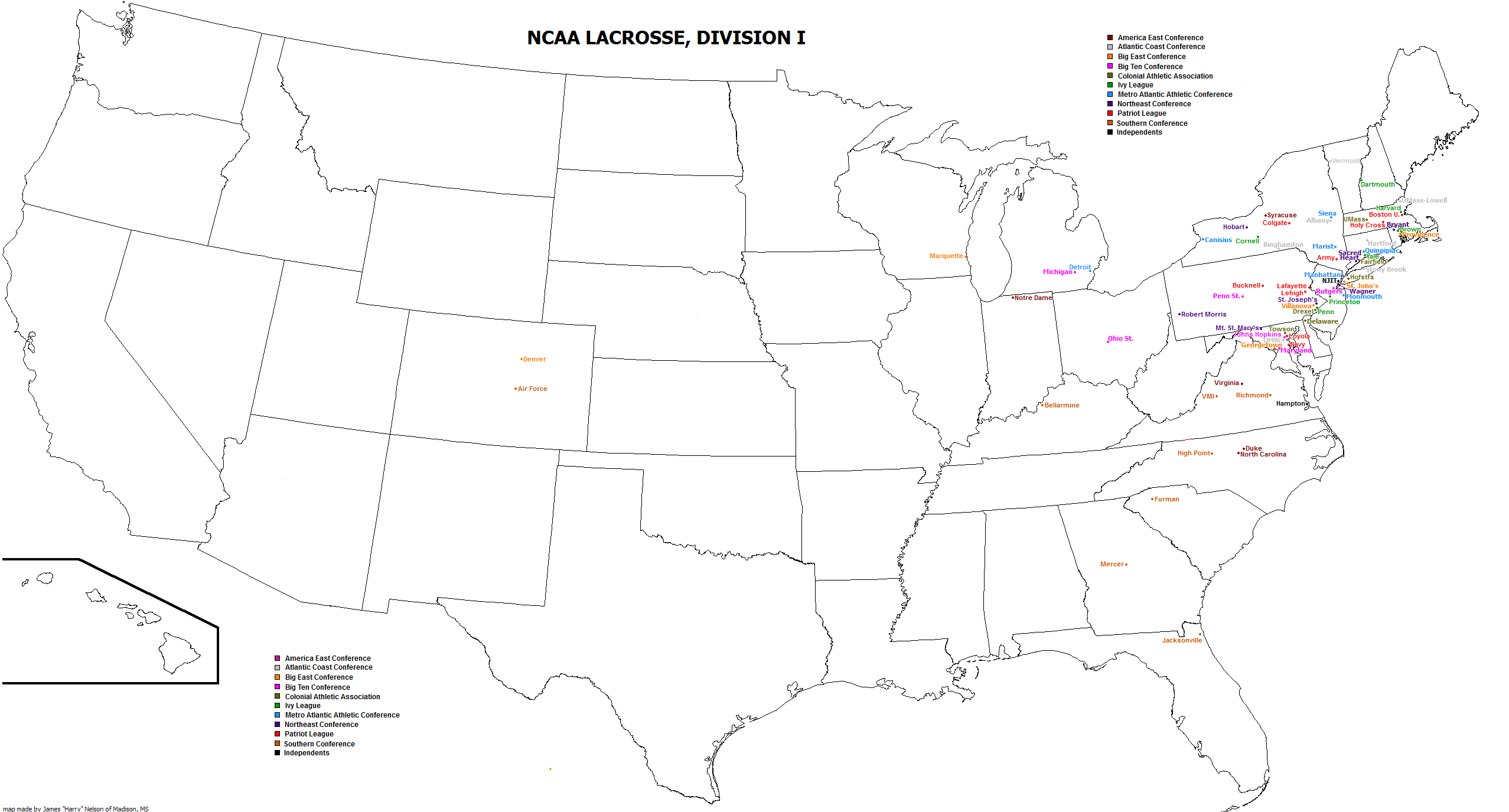 What Utah Reportedly Adding D Lacrosse Means Part HT - Map showing d3 schools in the us