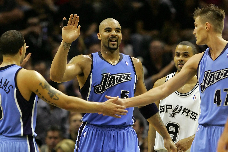 Utah Jazz players Gordon Hayward Derrick Favors Rudy Gobert