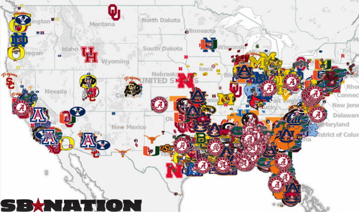These Maps And Charts Show Where College Football Players Come - Us map of college football teams