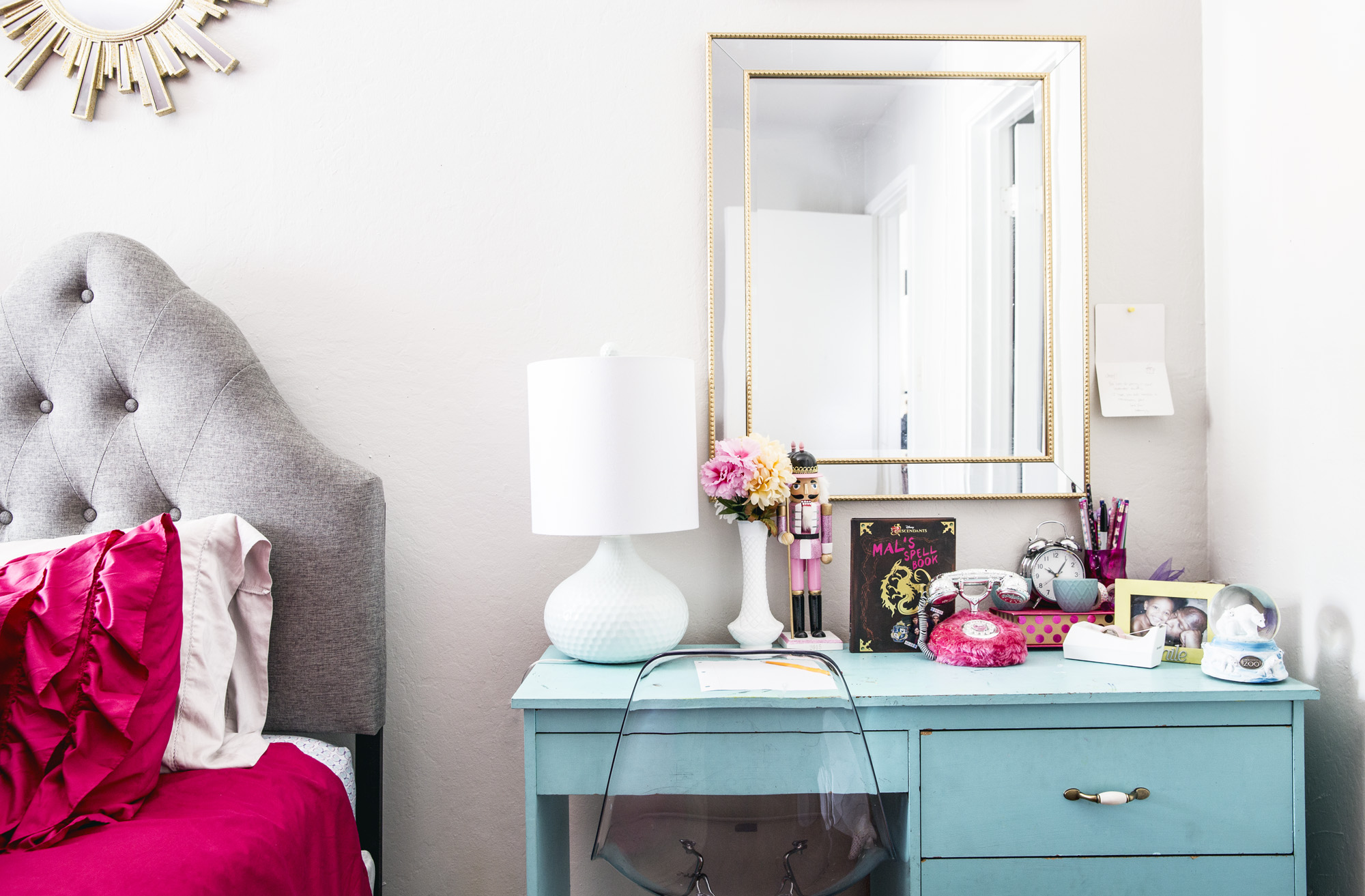 For Her Daughters Room Above Interior Designer Justina White Chose A Tufted Headboard From Wayfair And Painted Vintage Desk Turquoise Blue